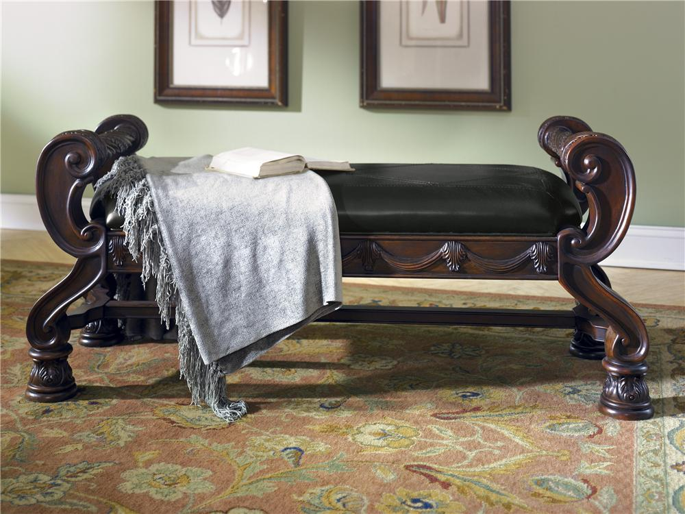 North Shore Upholstered Bench by Millennium at Lapeer Furniture & Mattress Center