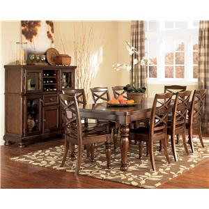 9 Piece Rectangular Extension Table & Side Chair Set