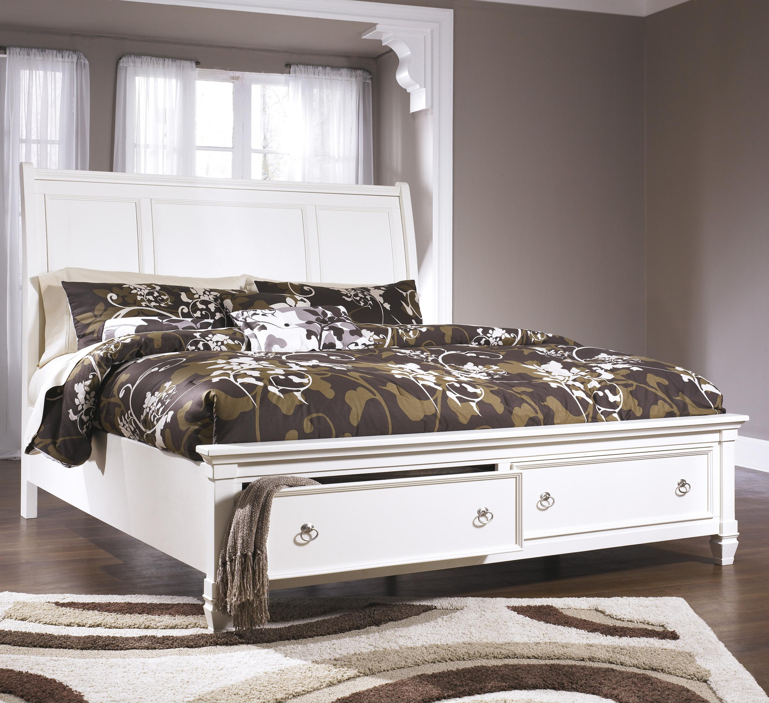 Prentice Cal King Sleigh Bed with Storage Footboard by Millennium at Northeast Factory Direct