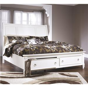 King Sleigh Bed with Storage Footboard