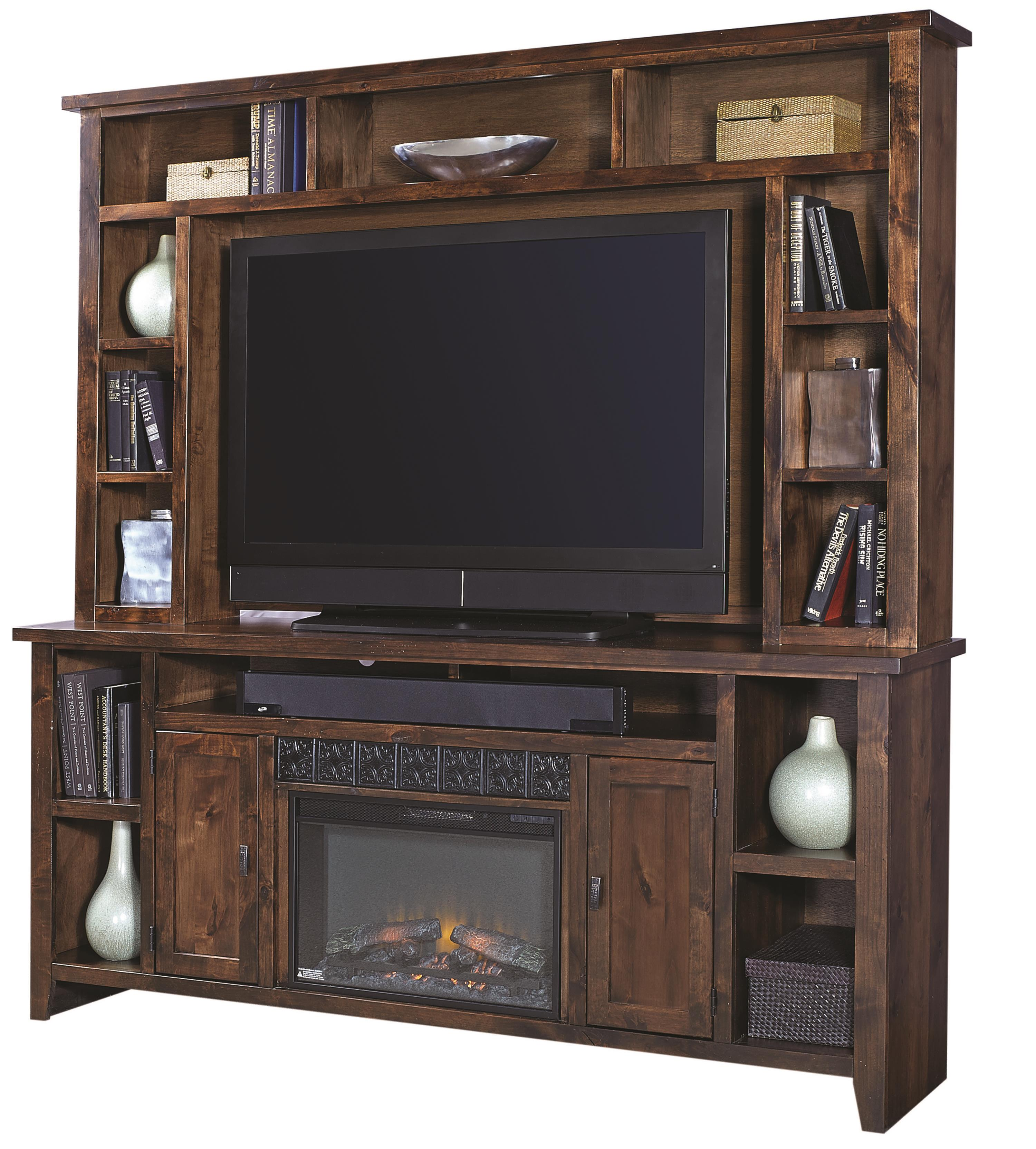 """Alder Grove 84"""" Fireplace Console with Hutch by Aspenhome at Stoney Creek Furniture"""