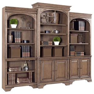 "84"" Bookcase Wall Console with LED Touch Lighting"