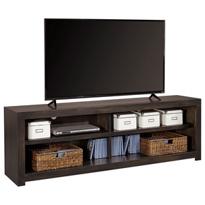 "Contemporary 74"" TV Console with 4 Open Shelves and Cord Access Holes"