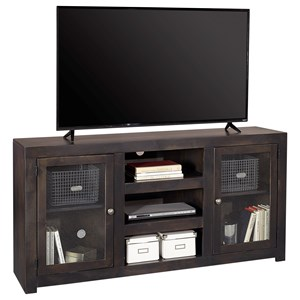 "Contemporary 65"" TV Console with Glass Cabinets and Cord Access Holes"