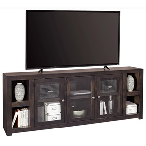 "Contemporary 84"" TV Console with Glass Cabinets and Cord Access Holes"