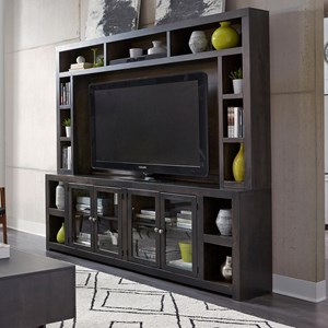 "Contemporary 97"" Console and Hutch with Open Shelving"
