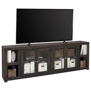 "Contemporary 97"" TV Console with Glass Cabinets and Cord Access Holes"