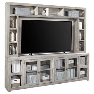 """Contemporary 97"""" Console and Hutch with Open Shelving"""