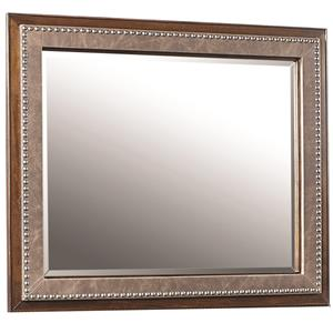 Upholstered Mirror with Bonded Leather and Nail Head Trim