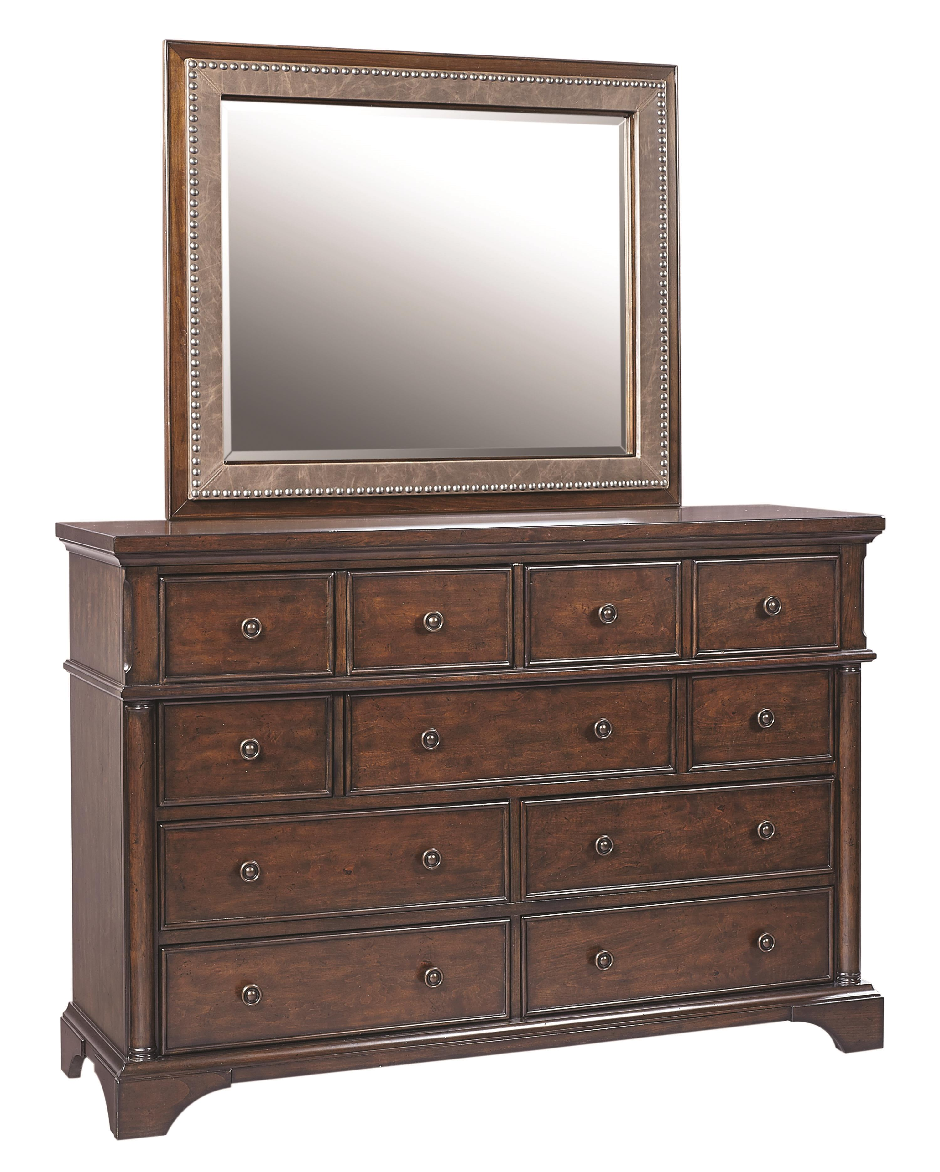 Bancroft Chesser with Bonded Leather Mirror by Aspenhome at Stoney Creek Furniture