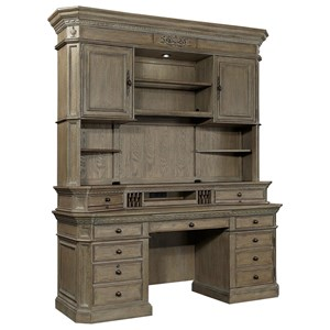 Traditional 7-Drawer Credenza Desk and Hutch with Adjustable/Removable Shelving and Built-In Wireless Charging Pad