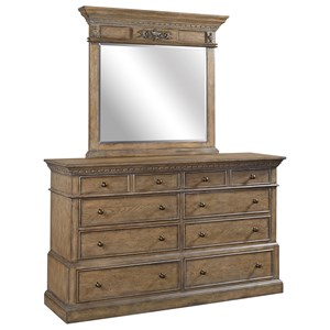 Dresser and Mirror Set with Jewelry Tray