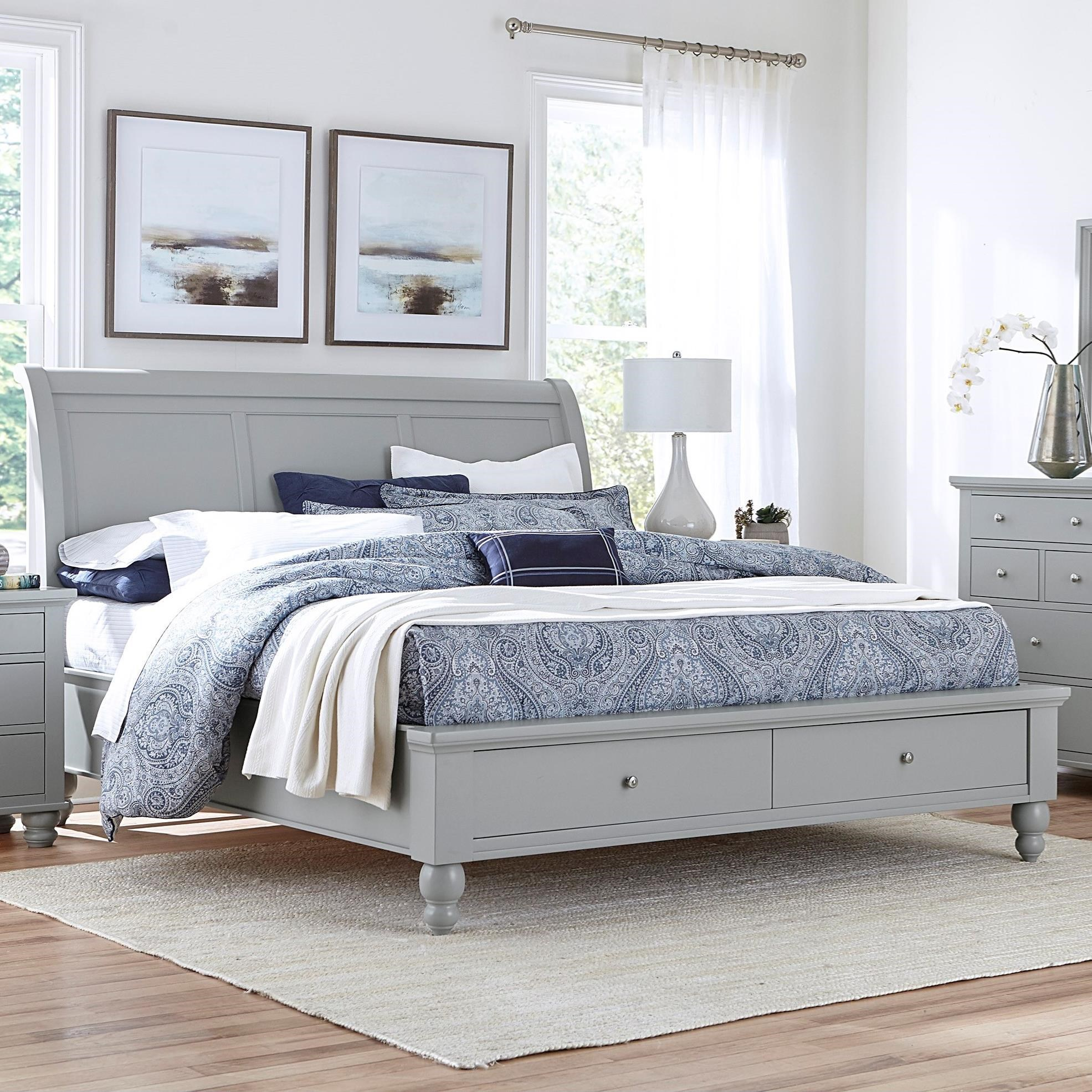 Cambridge Queen Sleigh Bed With Storage Drawers by Aspenhome at Walker's Furniture