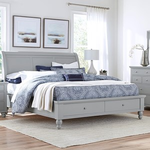 King-Size Bed with Sleigh Headboard & Drawer Storage Footboard