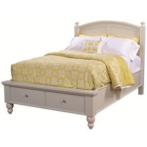 Queen-Size Bed with Rounded Panel Headboard & Low-Profile Two-Drawer Storage Footboard