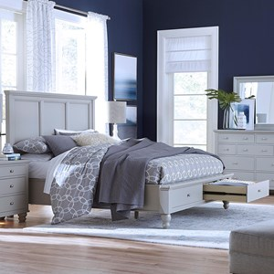 Queen Panel Bed with USB Ports and Storage Drawers