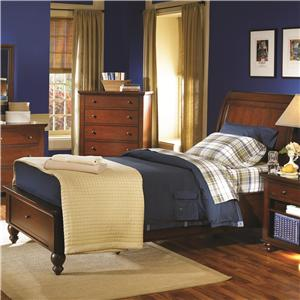 Twin-Size Bed with Sleigh Headboard & Drawer Storage Footboard