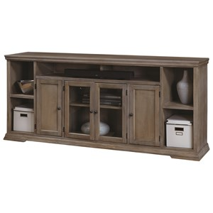 84-Inch TV Console with 4 Doors and Open Shelf Storage