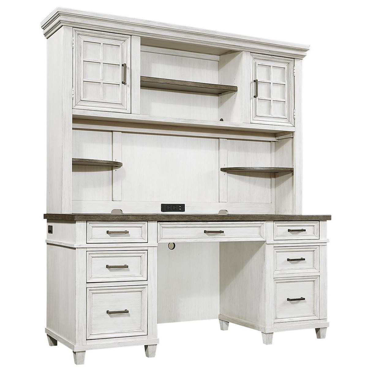 Caraway Credenza Desk and Hutch by Aspenhome at Walker's Furniture