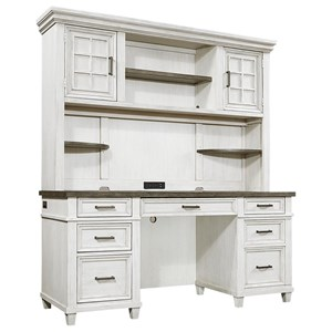 Casual Credenza Desk and Hutch with Adjustable Interior Shelving and Felt-Lined Drop Front Drawer