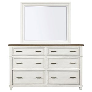 Casual 6-Drawer Dresser and Mirror Combination with 2 Felt-Lined Drawers and 2 Cedar-Lined Drawers