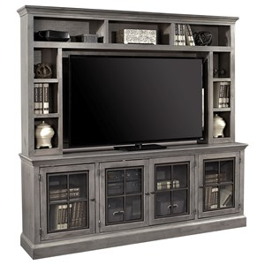 "Casual 84"" TV Console and Hutch with 4 Doors"