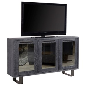 "Contemporary 67"" TV Console with 3 Mirrored Doors"