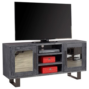 "Contemporary 65"" TV Console with 2 Mirrored Doors and Open Shelves"