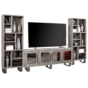 "Contemporary Entertainment Wall Unit with 84"" TV Console and Mirrored Doors"