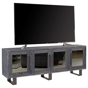 "Contemporary 84"" TV Console with 4 Mirrored Doors"