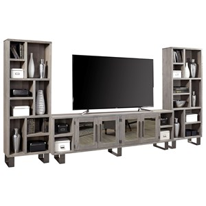 "Contemporary Wall Unit with 96"" TV Console and Mirrored Doors"