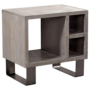 Contemporary End Table with Three Storage Cubbies