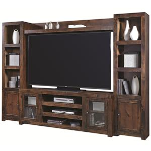 Entertainment Wall with 4 Doors and Open Shelving
