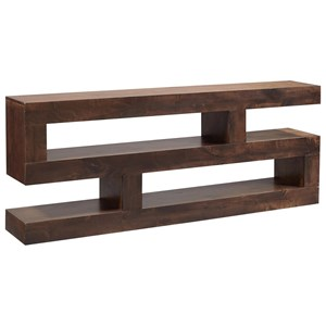 "Transitional 74"" Console Table TV Stand with Lower Open Shelving"