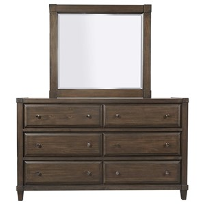 Transitional 6-Drawer Dresser and Mirror Combination with Felt-Lined Top Drawers