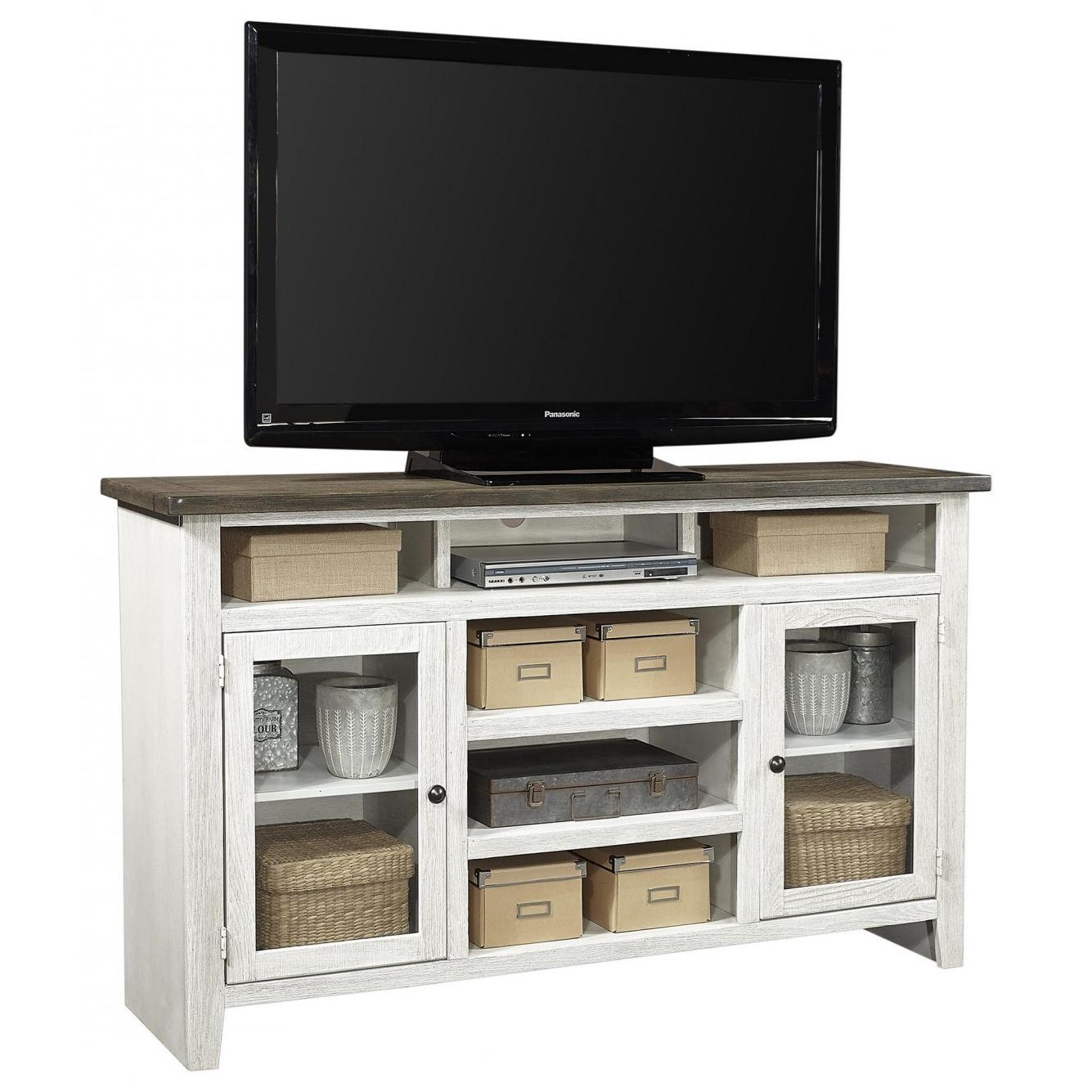 "Eastport 65"" Highboy Console by Aspenhome at Walker's Furniture"