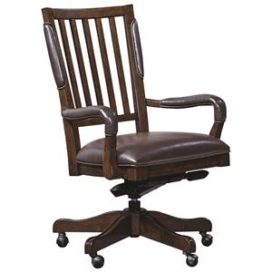 Office Arm Chair with Leather Seat