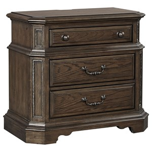 Traditional Bedside Chest with Night Light and Electrical Outlets