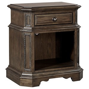 Traditional Nightstand with 1 Drawer and 1 Shelf