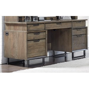 Contemporary Credenza Desk with Outlets and USB Port