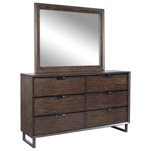 Contemporary 6 Drawer Dresser and Mirror with Felt-Lined Top Drawers
