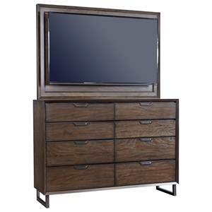 Contemporary 8 Drawer Chesser and TV Frame with Felt-Lined Top Drawers