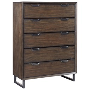 5 Drawer Contemporary Chest with Felt Lined Top Drawer