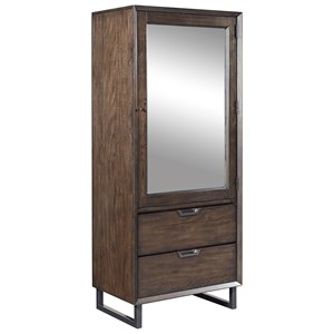 Tall Contemporary Door Chest with Mirror