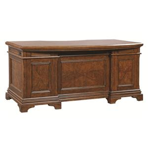 66-Inch Curved Executive Desk with 4 Utility Drawers and Felt-Lined Top Drawers