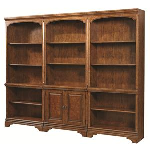 Bookcase Wall with 1 Door Bookcase and 2 Open Bookcases