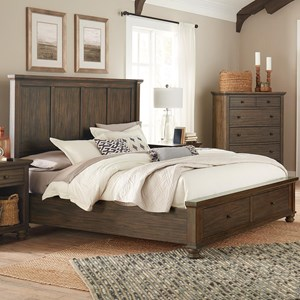 Transitional Queen Panel Bed with Footboard Storage
