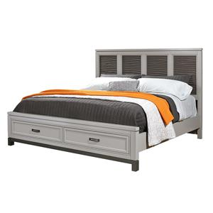 Queen Liquid Fret Panel Bed with Storage