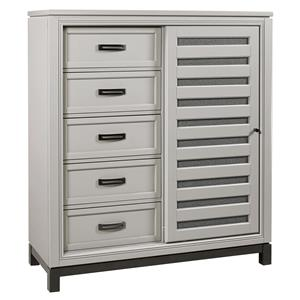 Sliding Door Chest with Dovetail Drawers and Adjustable Shelves