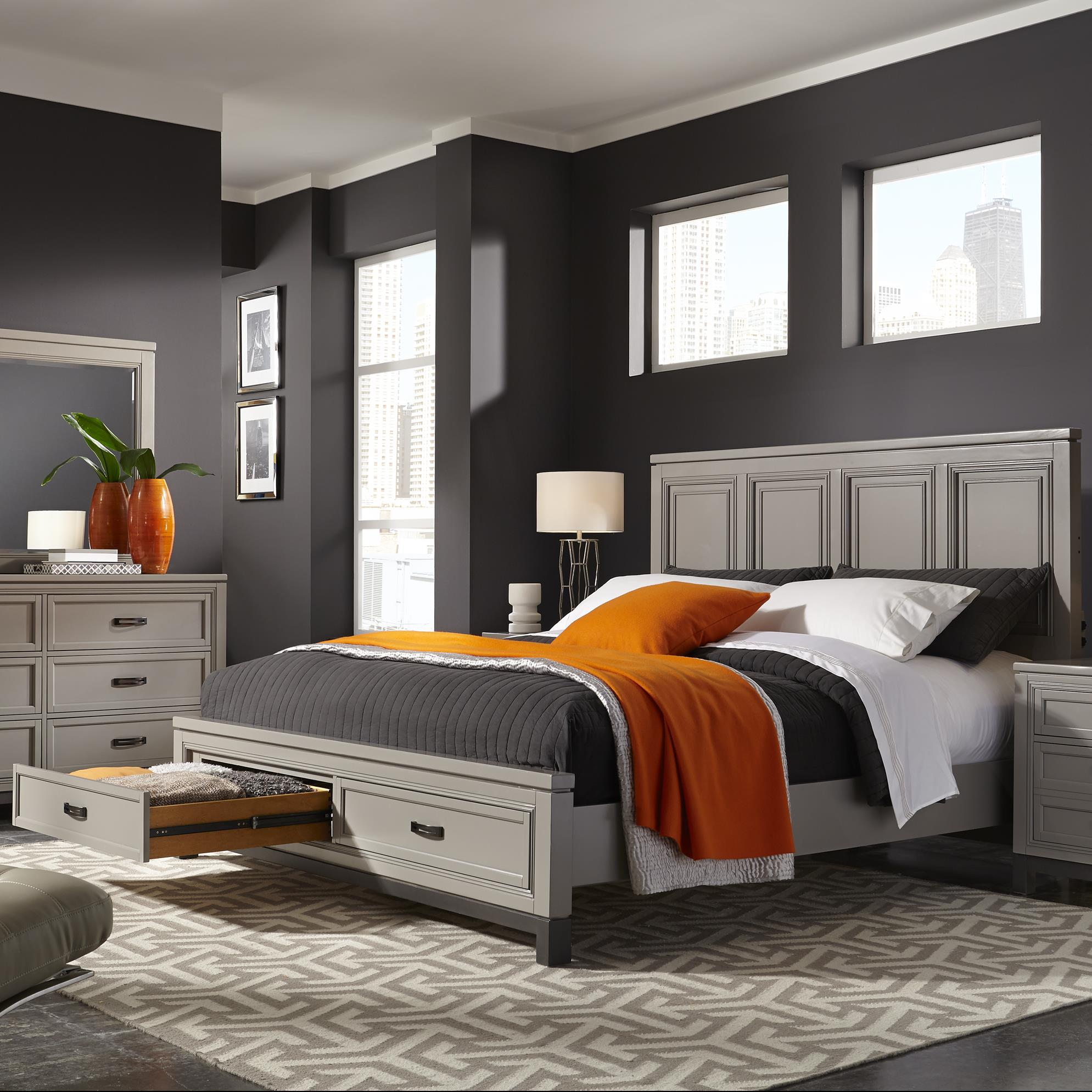 Hyde Park King Painted Panel Storage Bed by Aspenhome at Darvin Furniture